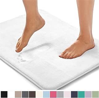 GORILLA GRIP Original Thick Memory Foam Bath Rug, 24x17, Cushioned, Soft Floor Mats, Absorbent Premium's Bathroom Mat Rugs, Machine Washable, Luxury Plush Comfortable Carpet for Bath Room, White