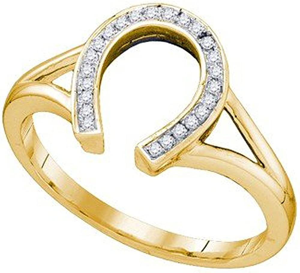 Dazzlingrock Collection 0.07 Carat (ctw) 10K Round Cut White Diamond Ladies Right Hand Horse Shoe Ring, Yellow Gold