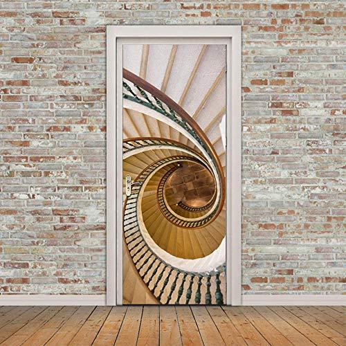 Fantxzcy Etiqueta De La Puerta 3D Puerta Arte Paisaje De Escalera De Caracol Blanco 95X215Cm Pared Deco Mural De La Pared Foto Pegatinas De Pared Autoadhesiva Puerta Decoración De Hogar Arte