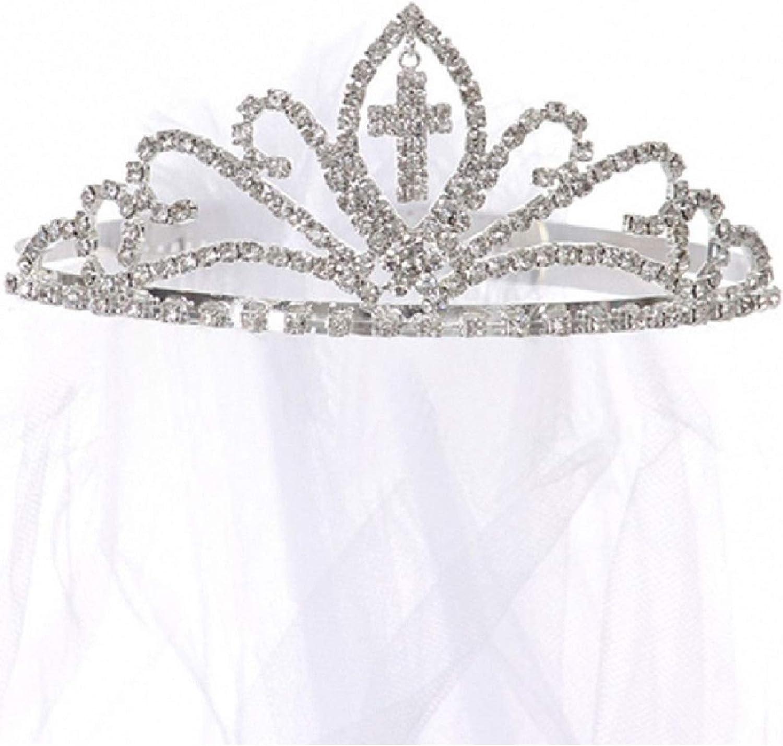 Kids Dream Girls Cross First Communion Veil Tiara Crown