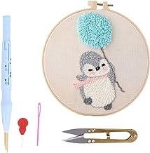 ULTNICE Punch Borduurpakket Punch Naaldpakketten Borduurdoek Borduurwerk Ambacht Met Schaar Wol Inrijger Punch Pen (Pinguïn)