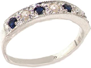 10k White Gold Cultured Pearl and Sapphire Womens Band Ring - Sizes 4 to 12 Available