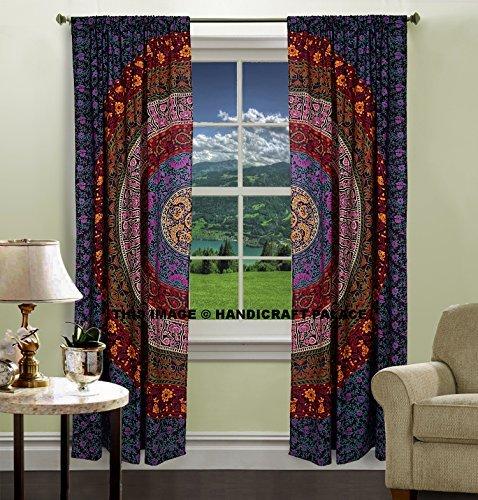 DIYANA IMPEX Indian Mandala Curtain Kitchen Window Curtains Curtain & Valance Set Dorm Tapestry,Indian Drape Balcony Room Decor Curtain Boho Set Hippie Curtain Panel (Multi Color)