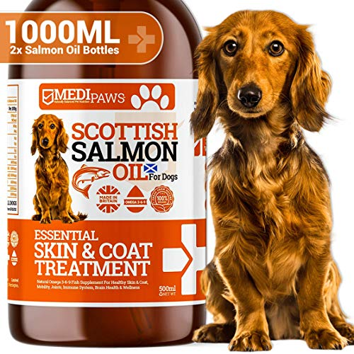 Medipaws Scottish Pure 1000ml Salmon Oil For Dogs, Cats & Pets | 100% Pure Premium Food Grade | Natural Fish Supplement | Omega 3-6-9 | Promotes Healthy Skin & Coat, Joint & Overall Health