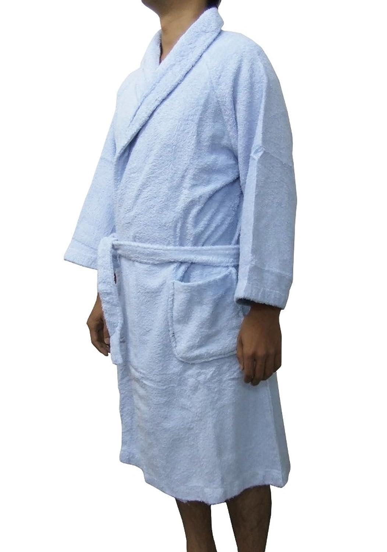 パイル地バスローブ 綿100% (F, (ポケット付き)サックス)