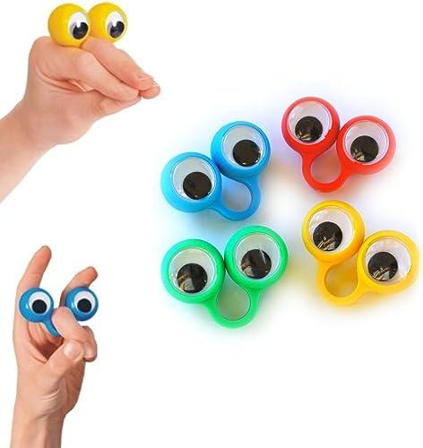 4 bagues paire d'yeux - Marionnettes à doigts - Rigolo - Eye finger puppets