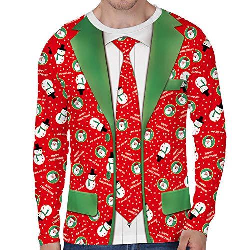 Navidad Sudadera Hombre Camiseta de Manga Larga Suéter Unisex Divertido de Cuello Redondo con Patrones Navideños...