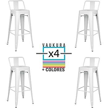 Vaukura - Taburete Alto Tolix con Respaldo bajo (Pack 4 ...