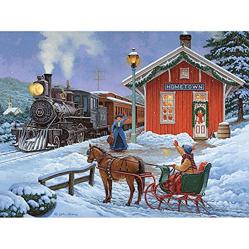 """Bits and Pieces - 300 Large Piece Glow in The Dark Puzzle for Adults - 18"""" x 24"""" Finished Size - Home for The Holidays by Artist John Sloane - Christmas Reunion - 300 pc Jigsaw"""