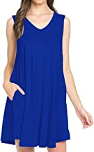 TINYHI Women's Simple Fit Tunic V-Neck Casual Swing T-Shirt Dress