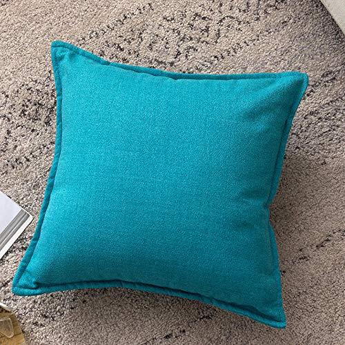 WANGLUYAO, Federa per Cuscino a Forma di Gatto, Tinta Unita, in Cotone e Lino, Federa per Cuscino per Divano, 45 x 45 cm, 2 Pezzi Blu Acqua
