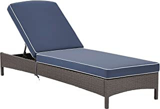 Crosley Furniture Palm Harbor Outdoor Wicker Chaise Lounge with Navy Cushions - Grey