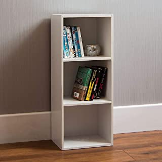 Vida Designs Oxford 3 Tier Cube Bookcase, White Wooden Shelving Display Storage Unit Office Living Room Furniture