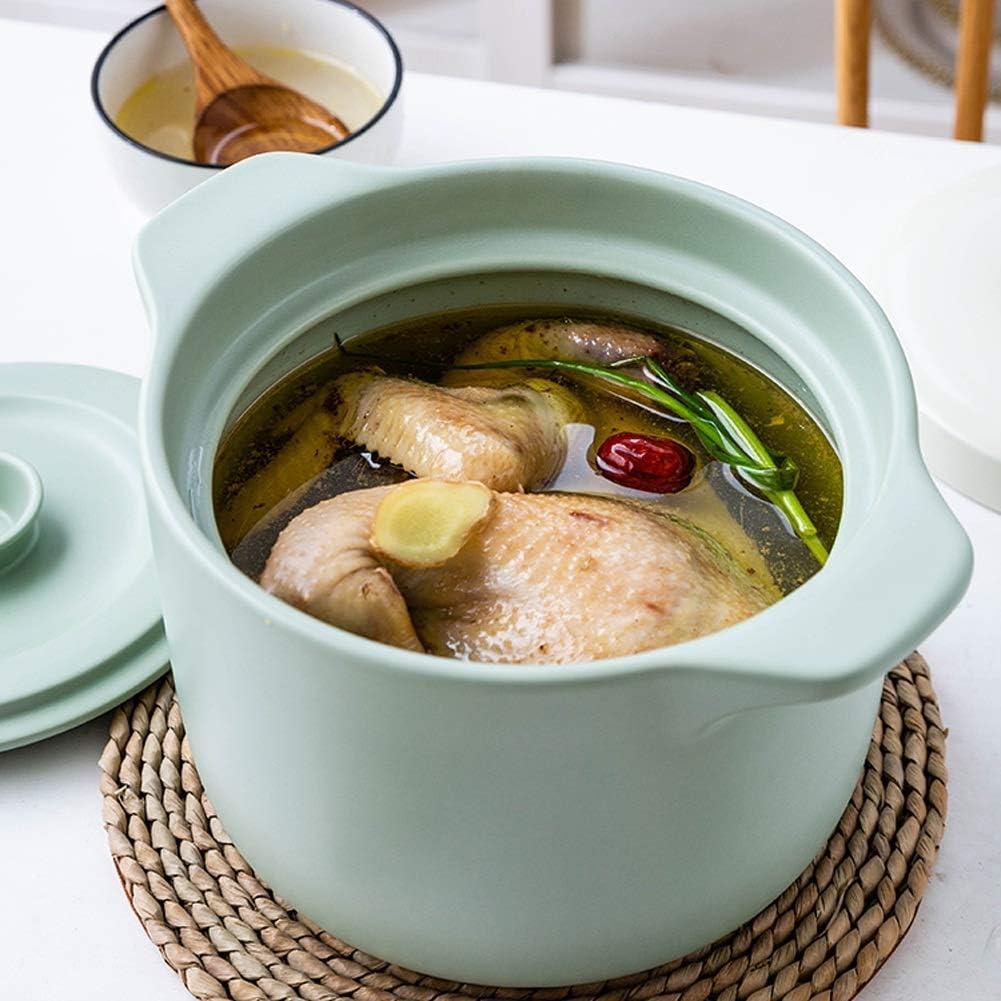 WEIZI Casserole en céramique Casserole Haute température Home Kitchen Batterie de Cuisine en céramique marmite à Double Couvercle (Couleur: Rose) Green