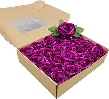 Artificial Flowers 20pcs Fake Roses, Suitable for Home Decoration Wedding Party Decoration Flannel Flowers DIY Artificial Flo