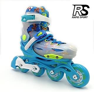 Rapid Sport Blue Transparent Boys Adjustable Inline Skates,  Fun Rollerblades for Kids,  Beginner Roller Skates for Kids,  Men and Ladies. RS-01