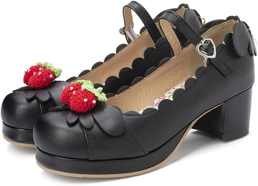 Women Chunky Heel Mary Jane Shoes Strawberry Cute Cosplay Bow Lace Up Lolita Shoes