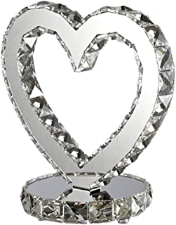 Modern Fashion Heart-Shaped Chrome Crystal LED Dimmable Table Lamp,for Bedroom Bedside Table Wedding Gift Desk Lamps (Size : 2828cm)