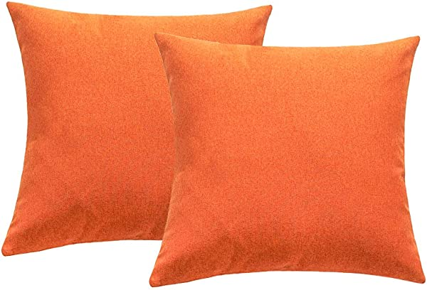 4TH Emotion Outdoor Waterproof Throw Pillow Covers Garden Cushion Case For Fall Patio Couch Sofa Polyester Cotton Home Decoration Pack Of 2 16 X 16 Inches Orange