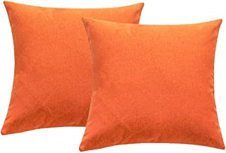 4TH Emotion Outdoor Waterproof Throw Pillow Covers Garden Cushion Case for Fall Patio Couch Sofa Polyester Cotton Home Decoration Pack of 2, 18 X 18 Inches Orange