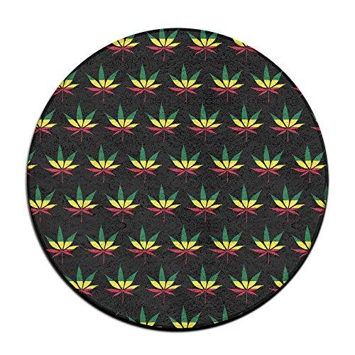 Bandera de Jamaica Weed Reggae Antideslizante Alfombrillas Circular Alfombra Alfombrillas Comedor Dormitorio Alfombra Felpudo 23.6Pulgadas