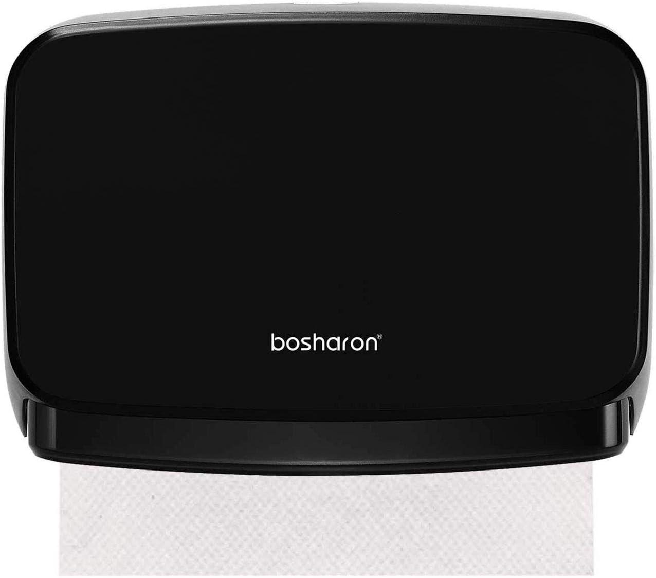 Bosharon Black Paper Towel Dispenser Wall Mount, C Fold Paper Towel Dispenser, Multifold Trifold Paper Towel Dispenser Commercial and Home Use, Bathroom Tissue Holder (Black)