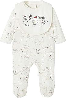 VERTBAUDET Estuche de Navidad con pijama + babero para bebé niña BLANCO CLARO ESTAMPADO 36M-94CM