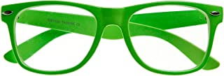 Retro Party Super Neon Color Horn Rimmed Style Eyeglasses Clear Lens Glasses (Green)