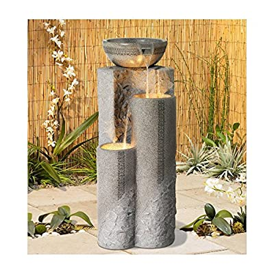 """Lamps Plus Outdoor Floor Water Fountain 34 1/2"""" High Cascading Marble Bowls LED for Yard Garden - John Timberland"""