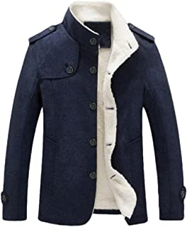 Men's Cotton Blend Jacket Casual Stand Collar Single Breasted Trench Overcoat