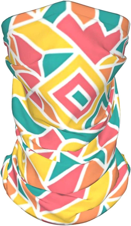 Funny Retro Geometric Neck Gaiter Multipurpose Headwear Ice Silk Mask Scarf Summer Cool Breathable Outdoor Sport 2 Pcs