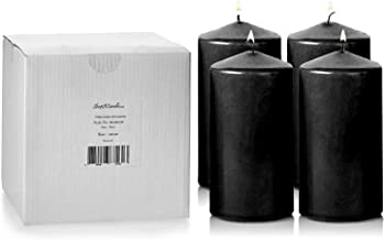 Light In The Dark Black Pillar Candles - Set of 4 Unscented Candles - 6 inch Tall, 3 inch Thick - 36 Hour Clean Burn Time Best Halloween/Fall Candles