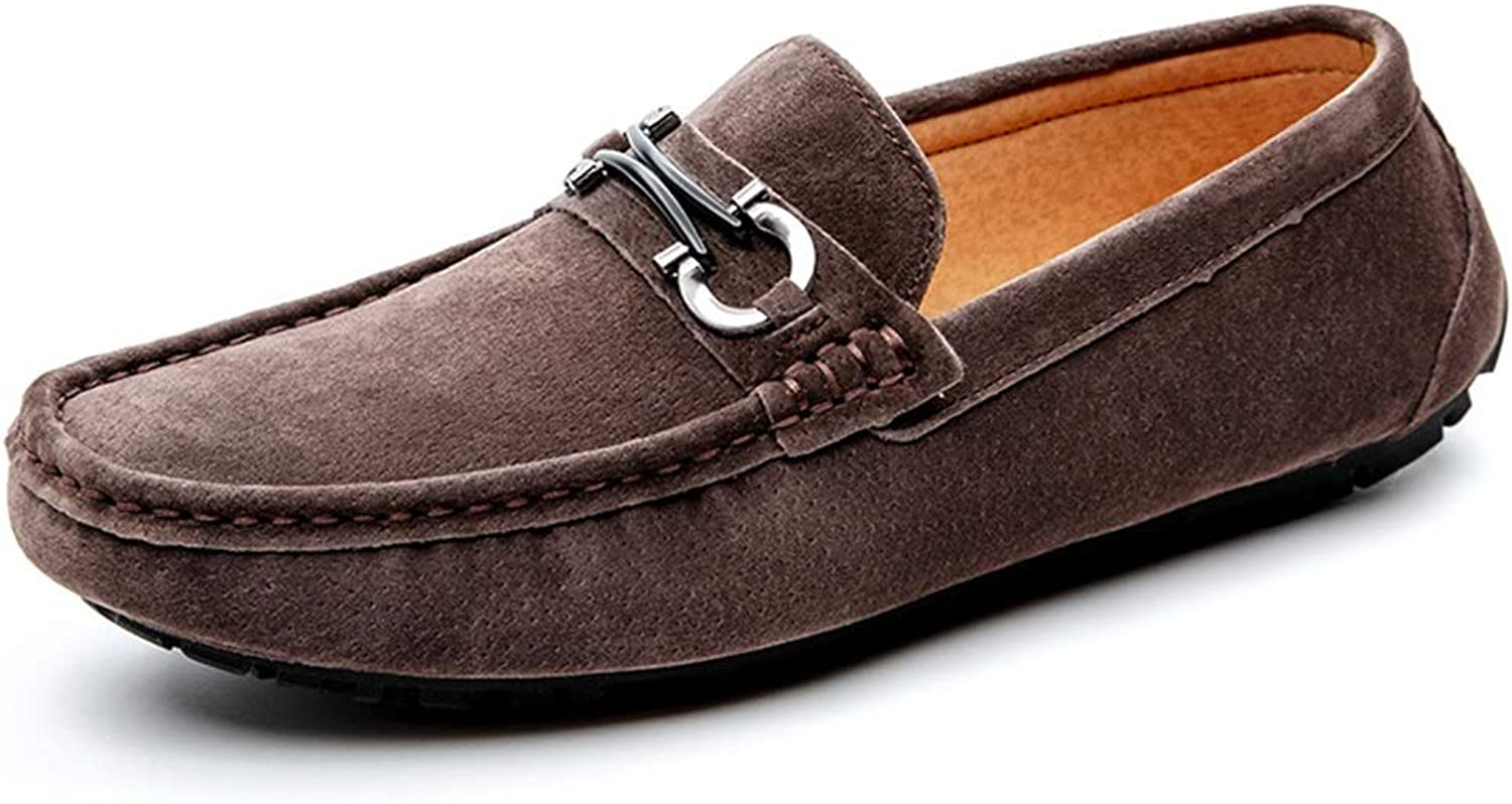 Easy Go Shopping Casual Driving Loafer For Men Boat Moccasins With Metal Buckle Flat Dress shoes Penny shoes Slip-on Suede Leather Upper Lightweight Cricket shoes (color   Brown, Size   8.5 UK)