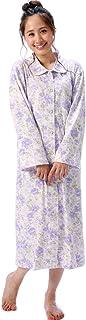 Nishiki(ニシキ) ネグリジェ 日本製 綿100% 肌にやさしい 【選べるカラー/選べるサイズ】 春 春夏 秋 パジャマ ルームウェア レディース 長袖 前開き ロング丈 入院 介護 産後 スムース素材 花柄
