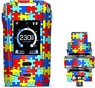 IT'S A SKIN Decal Vinyl Wrap Smok Species 230W TFV8 Baby V2 Vape Sticker Sleeve/Colorful Puzzle Pieces Autism