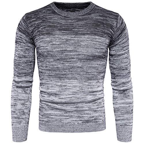 Suéter de Color Degradado para Hombre Moda Slim Fit Cuello Redondo Manga Larga Clásico Casual Color a Juego Jersey de Punto XXL