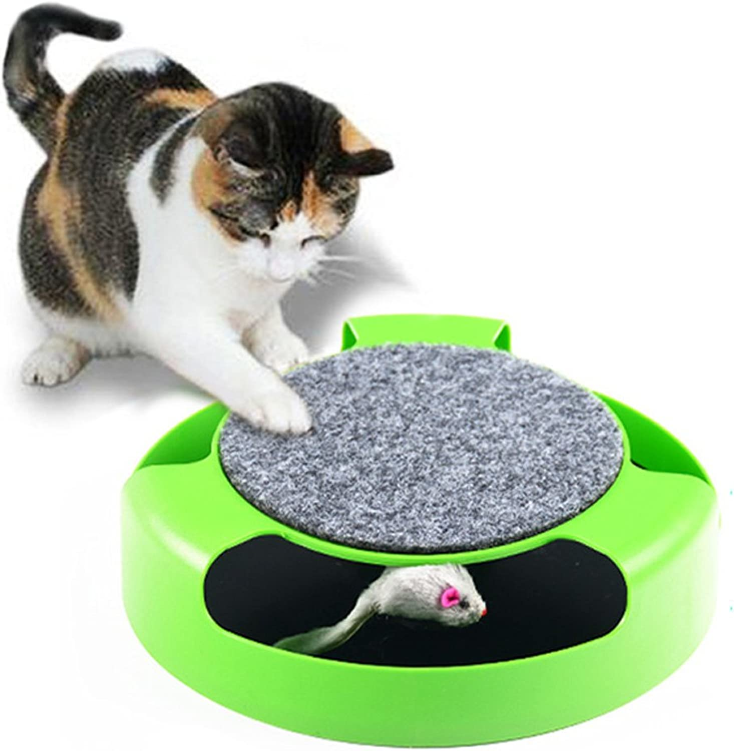 Cat Toy activates The Cat's Active shadowless Rat Carousel Toy for use in Young Cats (color Green)