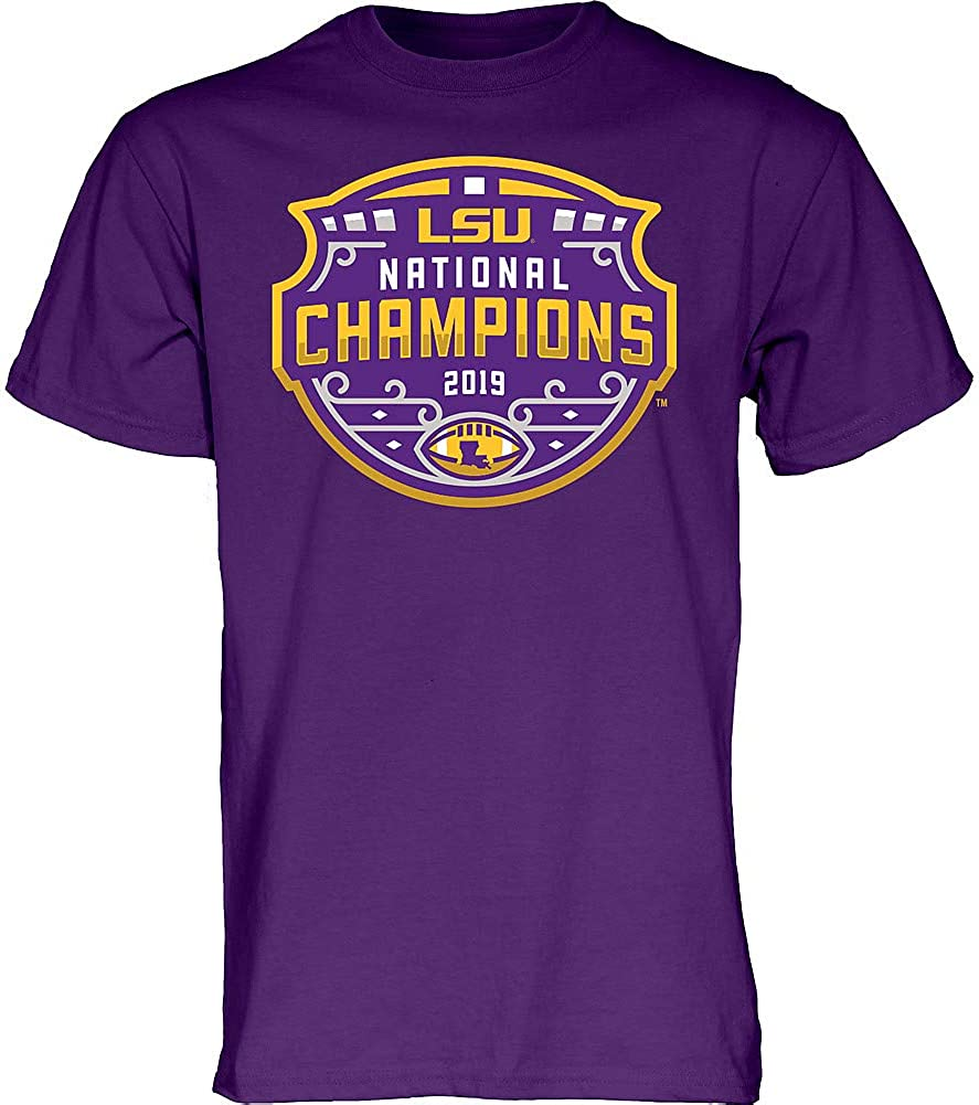 Elite Fan Shop LSU Tigers National Championship Champs Tshirt 2019-2020 Official Logo Purple