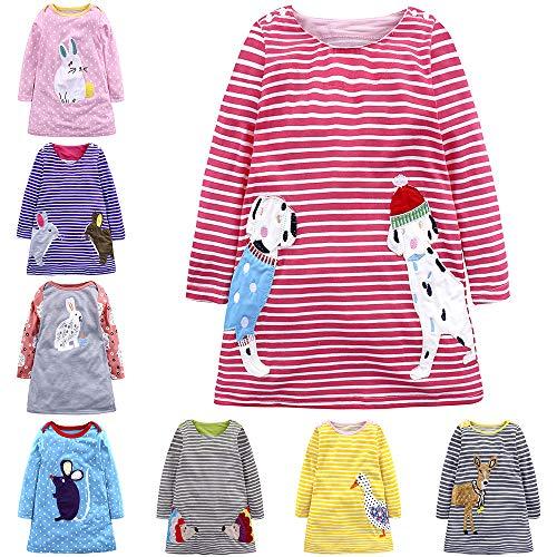 IPBEN baby meisjes prinses jurk meisje jersey jurk met strepen crewneck jurk