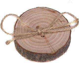 WINOMO Wedding Ring Box, Rustic Shabby Chic Wedding Wooden Ring Pillow Bearer Jute Rope Round