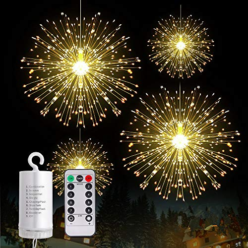 Fairy Firework String Lights Wire Lights,225 LED DIY 8 Modes Dimmable Lights with Remote Control, Waterproof Decorative Hanging Starburst Lights for Christmas, Home, Patio, Indoor Outdoor Decoration