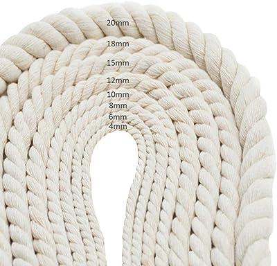 SWENROU Hilado de Cuerda de algodón Macrame Hilo Cuerda de algodón ...