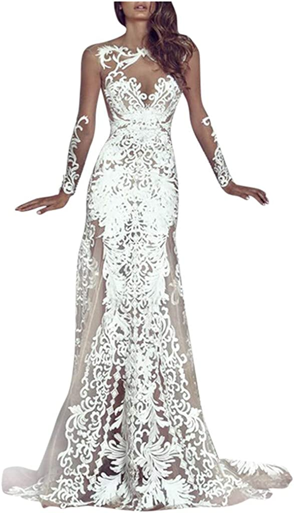 Mermaid Evening Dress for Women Formal White Lace See Through Maxi Bridal Gown for Party Wedding