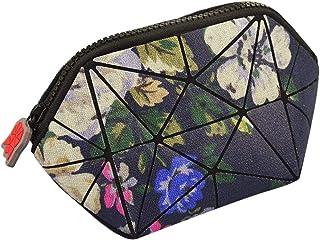 حقائب مكياج للنساء حقيبة مستحضرات التجميل الهندسية للمحفظة، حقيبة قابلة للطي لتنظيم أدوات الزينة (زهور أرجوانية داكنة)