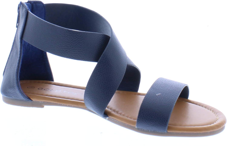 gold Toe Women's Celine Vegan Open Toe Flat Gladiator Sandal with Criss-Cross Ankle Wrap Strap & Back Zip
