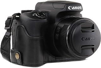 جراب نصف جراب للكاميرا من الجلد من MegaGear MG1600 Ever، متوافق مع Canon PowerShot SX70 HS - أسود