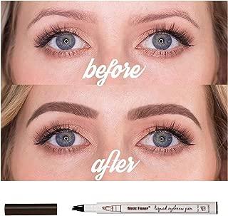 1pc,Authentic Music Flower Tattoo Eyebrow Pen,microblading eyebrow pen,eyebrow pencil waterproof;forked tip;tat brow Makeup-women,men (Chestnut)