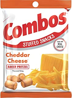 COMBOS Cheddar Cheese Pretzel Baked Snacks 6.3-Ounce Bag (Pack of 12)
