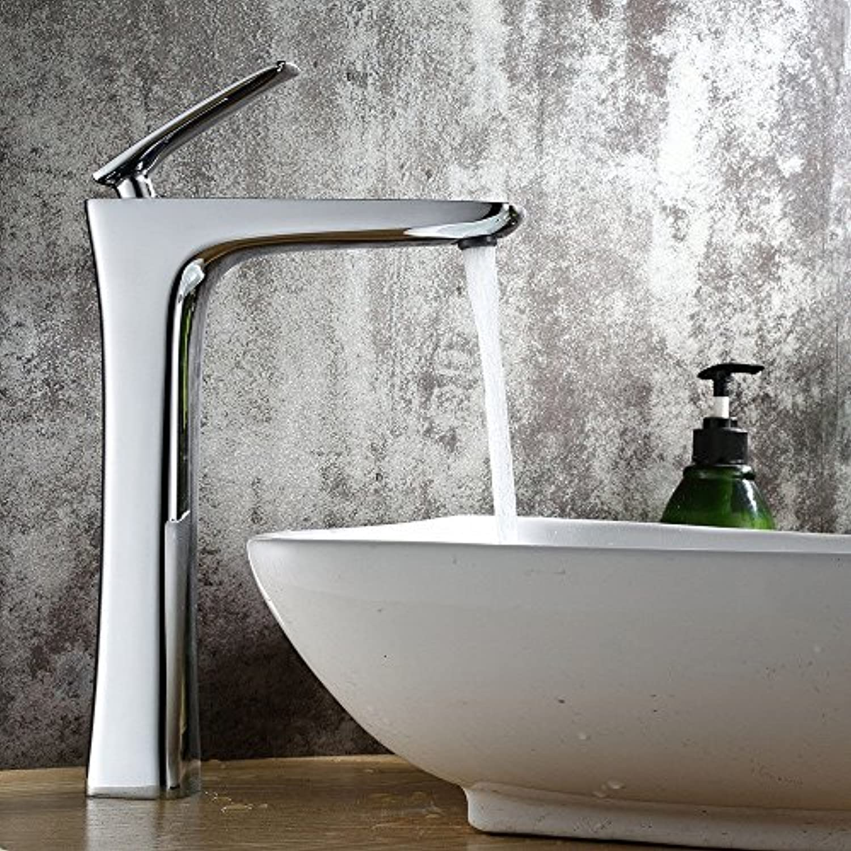 Xicaimen Wasserfall Wasserhahn Bad Waschtischarmatur Mischbatterie Messing verchromt Warm- und Kaltwasser Einhebel Waschtischmischer Bad Armatur für Badezimmer Waschbecken Brass Body