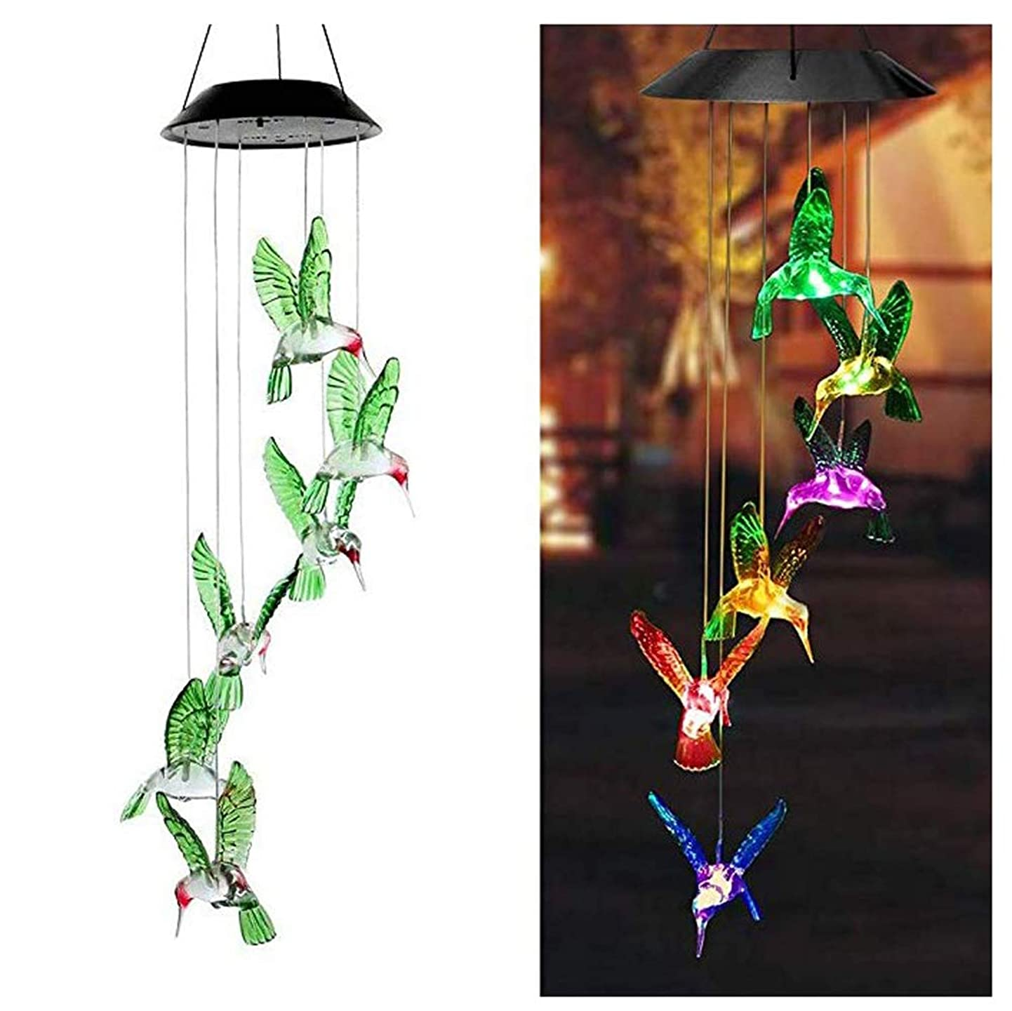 CIAOYE Color-Changing Solar Wind Chime Light LED Changing Wind Bell Waterproof Six Hummingbird Wind Chimes for Home Party Night Garden Decoration, Green mrphcurwrcg7